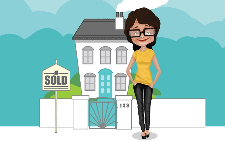 cartoon image of woman sitting on a wall of a house
