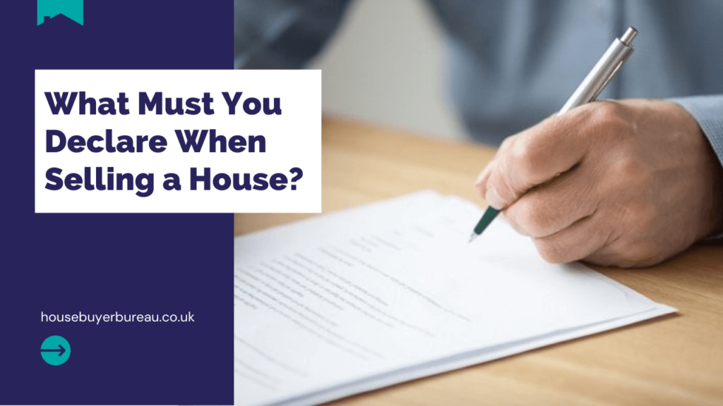 a hand signing documents - a blog about what to declare when selling a house.