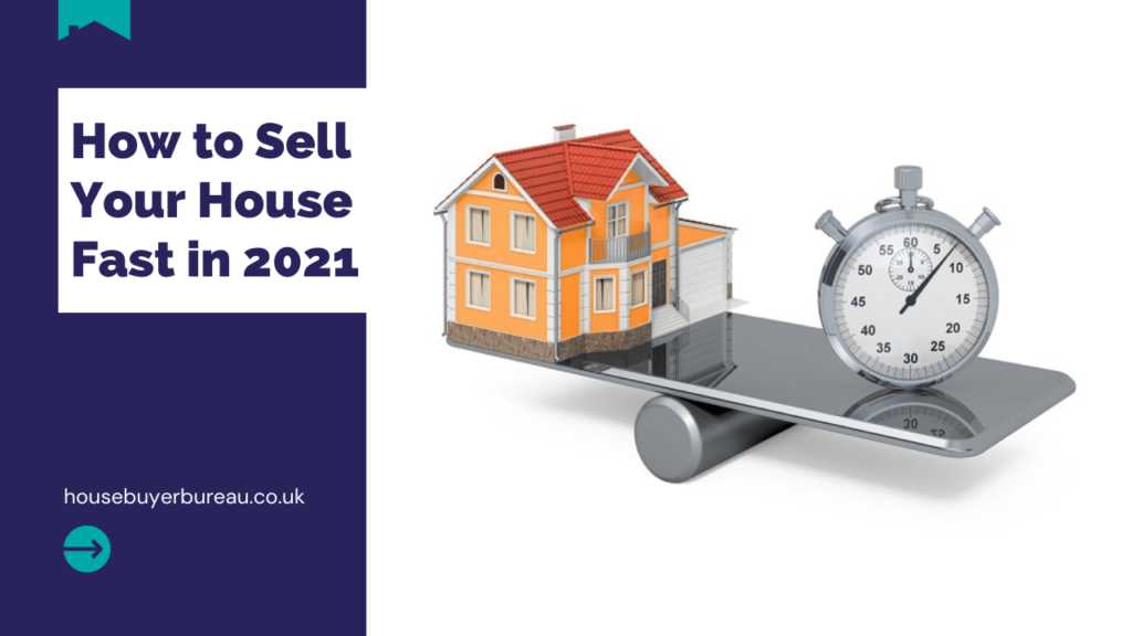 a house and an alarm clock on a see-saw - a blog post about how to sell your house fast in 2021